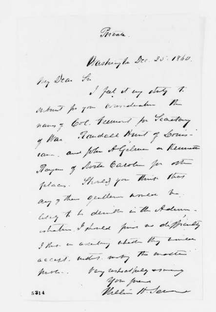 William H. Seward to Abraham Lincoln, Tuesday, December 25, 1860  (Cabinet recommendations)