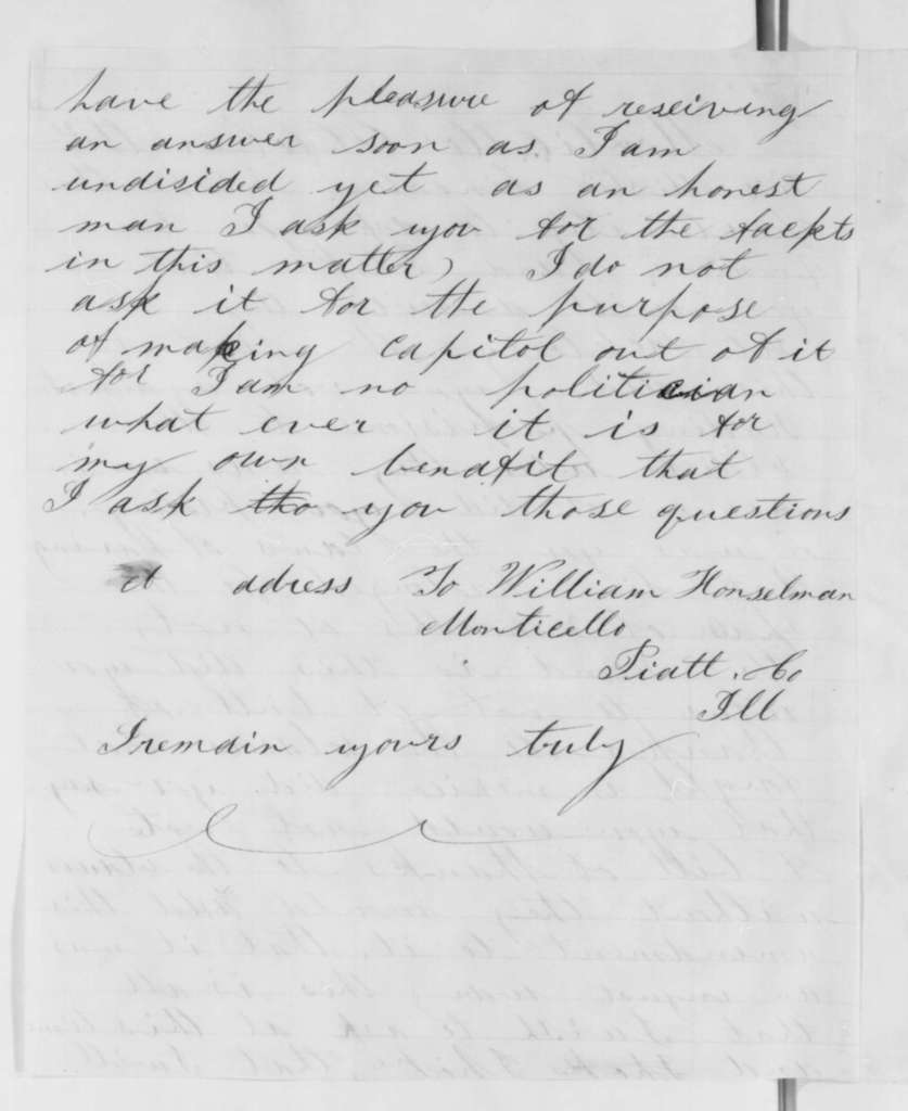 William Honselman to Abraham Lincoln, Sunday, October 21, 1860  (Wants to know about Lincoln's position on the Mexican War)