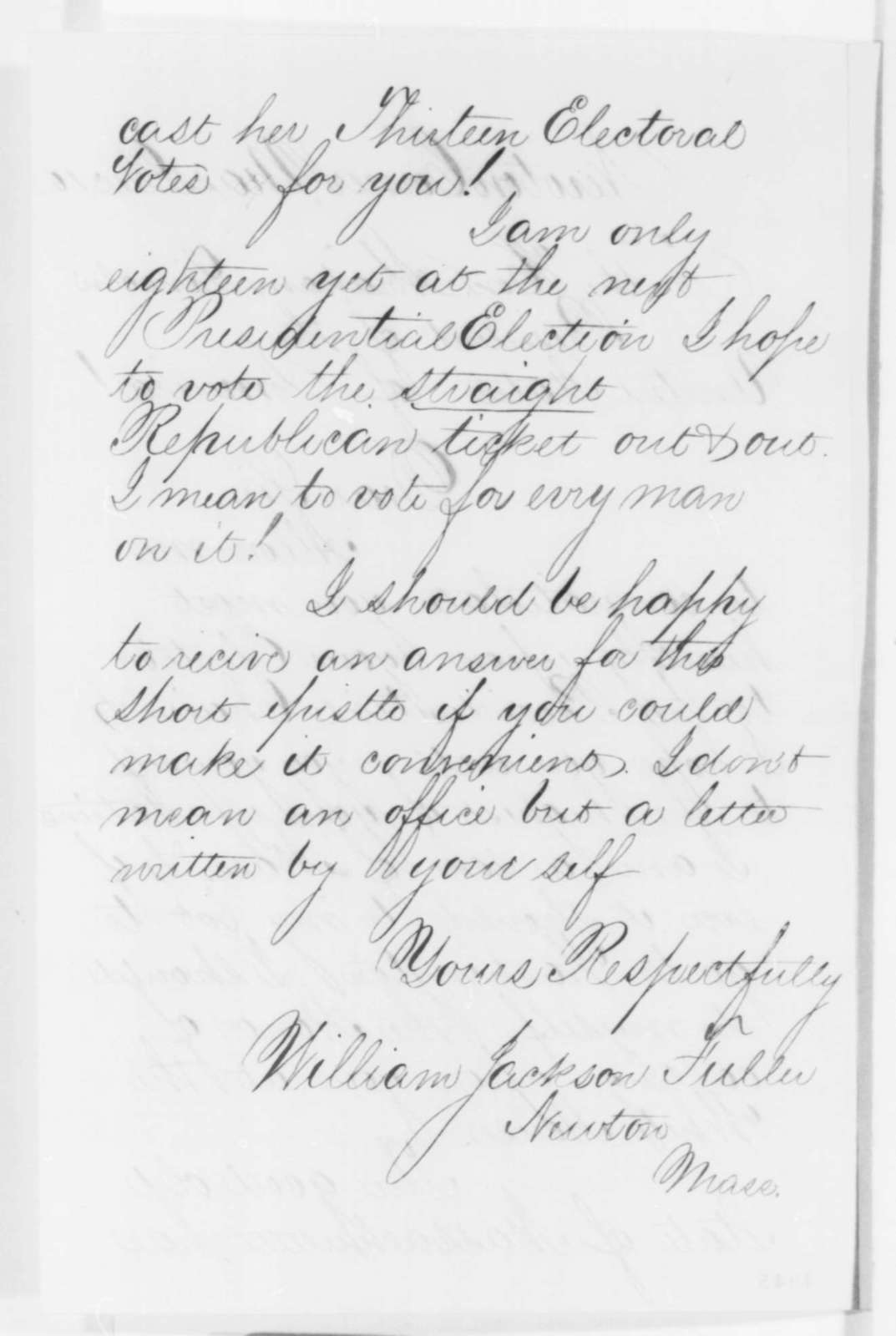 William Jackson Fuller to Abraham Lincoln, Monday, December 10, 1860  (Congratulations)