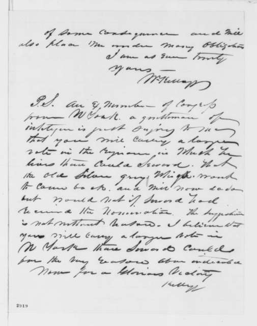 William Kellogg to Abraham Lincoln, Saturday, May 26, 1860  (Endorsement of S. P. Hanscom and political matters)