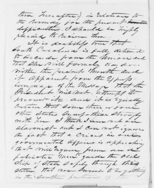 William Kellogg to Abraham Lincoln, Thursday, December 06, 1860  (Lincoln's secession policy)