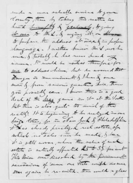 William L. Hodge to Thomas Corwin, Thursday, October 18, 1860  (Copy of letter advising Lincoln how to handle sectional crisis)