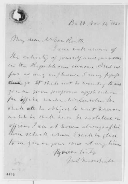William Marshall to Felix Van Reuth, Wednesday, November 14, 1860  (Support for job application)