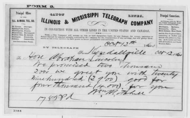 William Mitchell to Abraham Lincoln, Friday, October 12, 1860  (Telegram reporting Indiana election results)