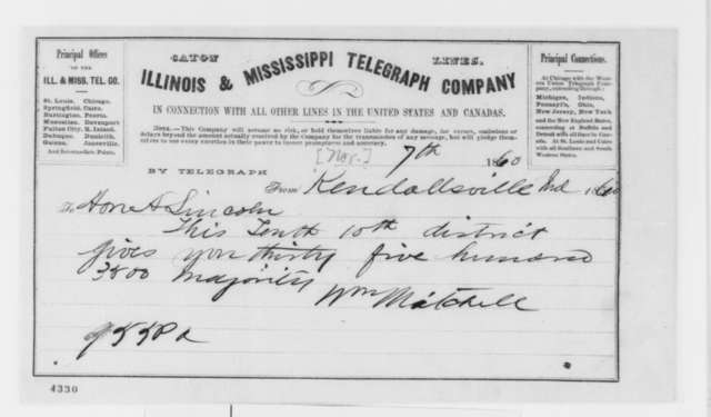 William Mitchell to Abraham Lincoln, Wednesday, November 07, 1860  (Telegram reporting election results)