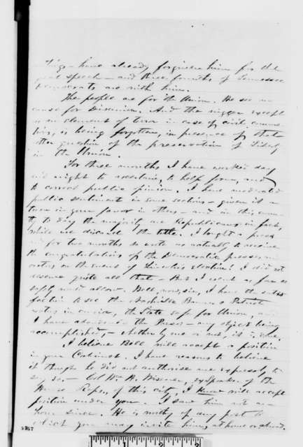 William S. Speer to Abraham Lincoln, Wednesday, December 26, 1860  (Wants John Bell in cabinet)