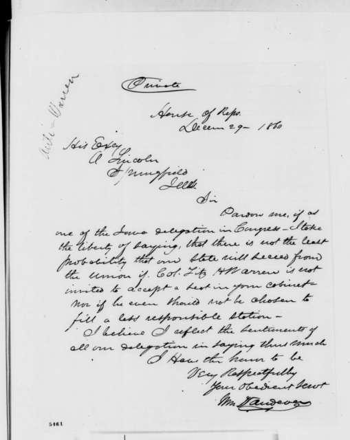 William Vandever to Abraham Lincoln, Saturday, December 29, 1860  (Fitz Henry Warren)