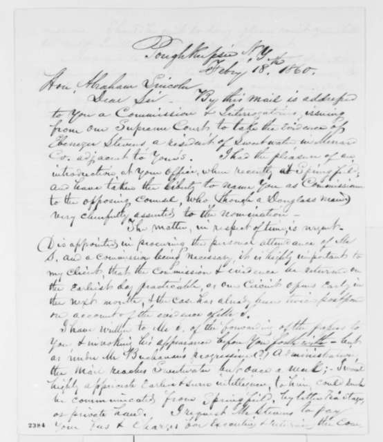 William Wilkinson to Abraham Lincoln, Saturday, February 18, 1860