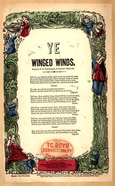 Ye winged winds. H. De Marsan, Publisher, 38 & 60 Chatham St. N. Y. [1860]
