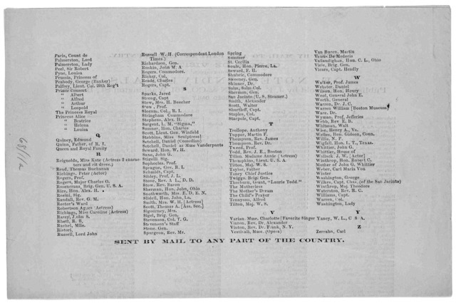 161 Washington Street, Boston, December, 1861. With this we hand you a list of Cartes de Visite, which we shall be pleased to have you examine and order from. We can supply you with any thing in this line, at the lowest prices. You will observe