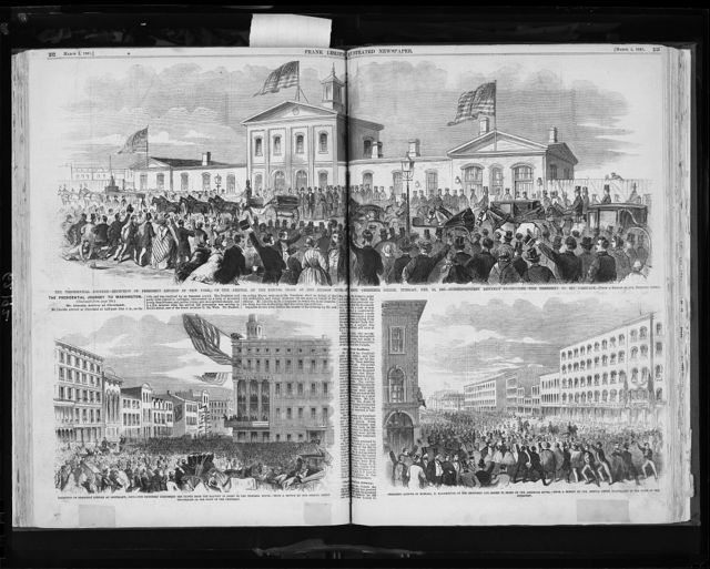 3 illus.:  1. The Presidential journey - Reception of President Lincoln in New York, on the arrival of the special trains at the Hudson River R. depot, Thirtieth Street, Thursday, Feb. 19, 1861; 2. Reception of President Lincoln at Cleveland, Ohio; 3. President Lincoln in Buffalo, N.Y.