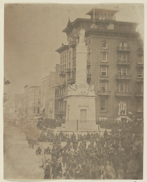 6th Massachusetts bivouacked in Monument Sq., Baltimore