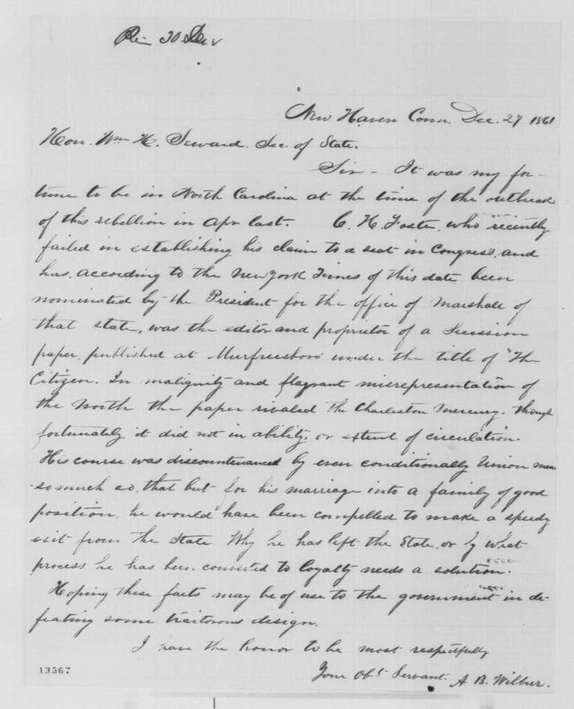 A. B. Wilbur to William H. Seward, Friday, December 27, 1861  (Charles H. Foster)