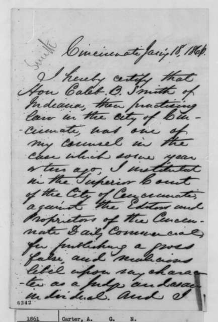 A. G. N. Carter to Abraham Lincoln, Friday, January 18, 1861  (Caleb Smith)