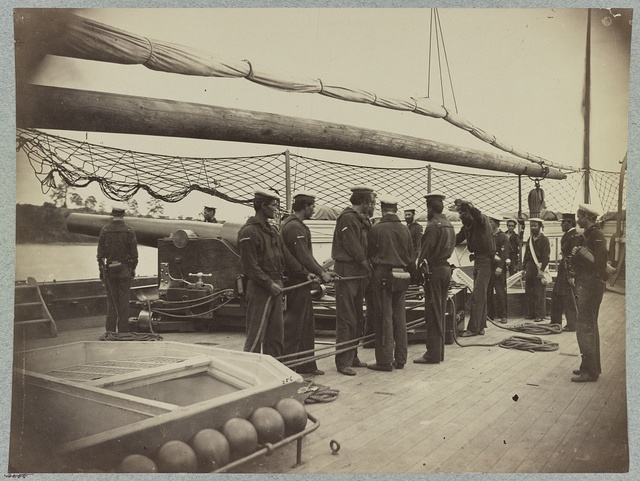 A gun crew on deck of U.S.S. Mendota, James River, Va.