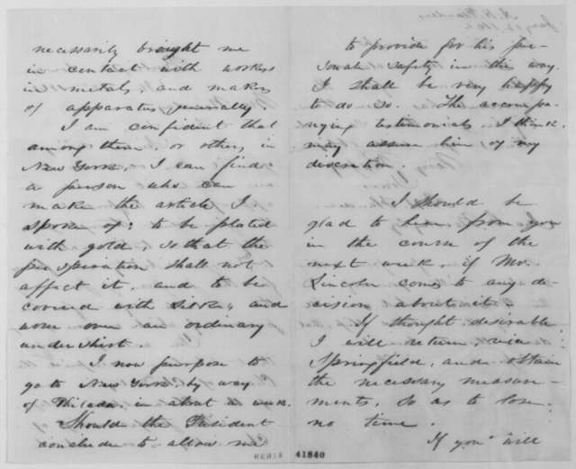 A. H. Flanders to John G. Nicolay, Saturday, January 12, 1861  (Offers to make bullet proof vest for Lincoln)