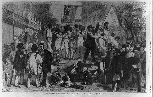 A slave auction at the south / from an original sketch by Theodore R. Davis.