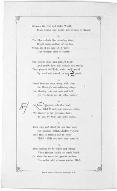 A song on our country and her flag by Francis Lieber. Written in 1861, after the raising of the flag on Columbia College, New York. New York. Baker & Godwin, printers. No. 1 Spruce St [1861].