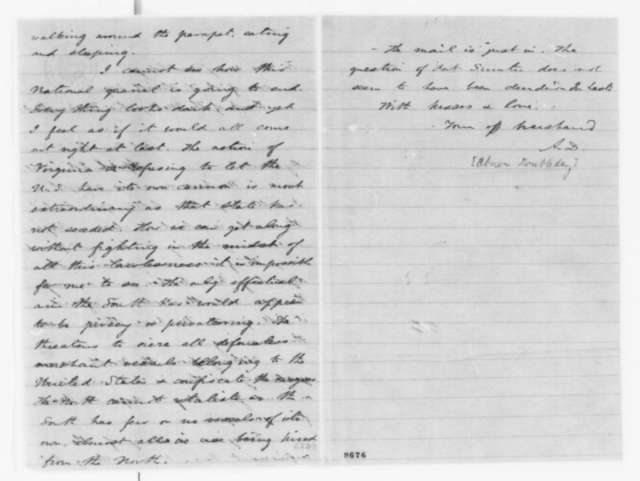 Abner Doubleday to Mary Doubleday, Tuesday, April 02, 1861  (Fort Sumter)