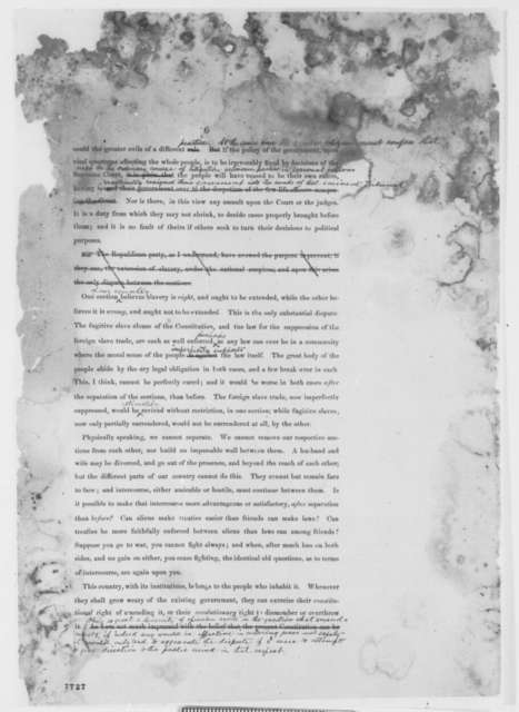 Abraham Lincoln, [February-March 1861]  (First Inaugural Address, Second Printed Draft, with Seward's Suggested Changes in Red Ink)