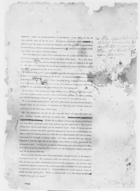 Abraham Lincoln, [February-March 1861]  (First Inaugural Address, Second Printed Draft, with Changes in Lincoln's Hand)
