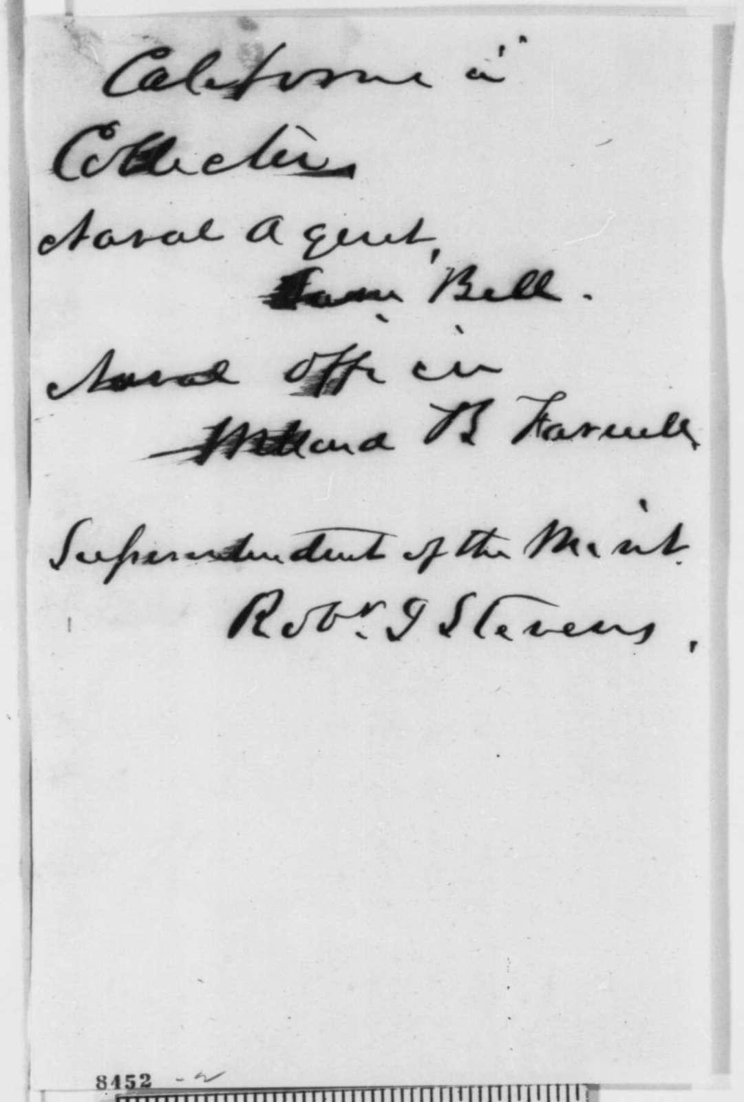Abraham Lincoln, Friday, March 29, 1861  (Memorandum on Edward D. Baker's recommendations)