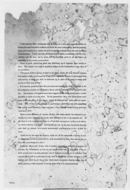 Abraham Lincoln, [January-February 1861]  (First Inaugural Address, First Printed Draft, With Revisions in Lincoln's Hand)