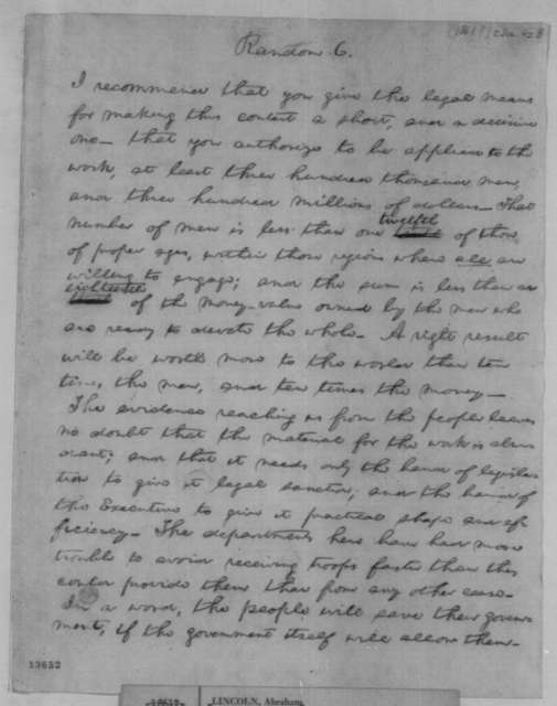 Abraham Lincoln, [May? 1861]  (Draft Fragment, Message to Congress, July 4, 1861)