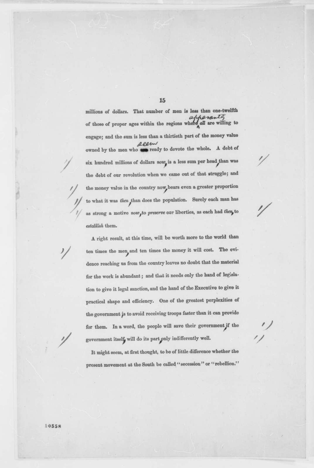 Abraham Lincoln, [May-June 1861]  (Message to Congress, July 4, 1861, First Printed Draft)
