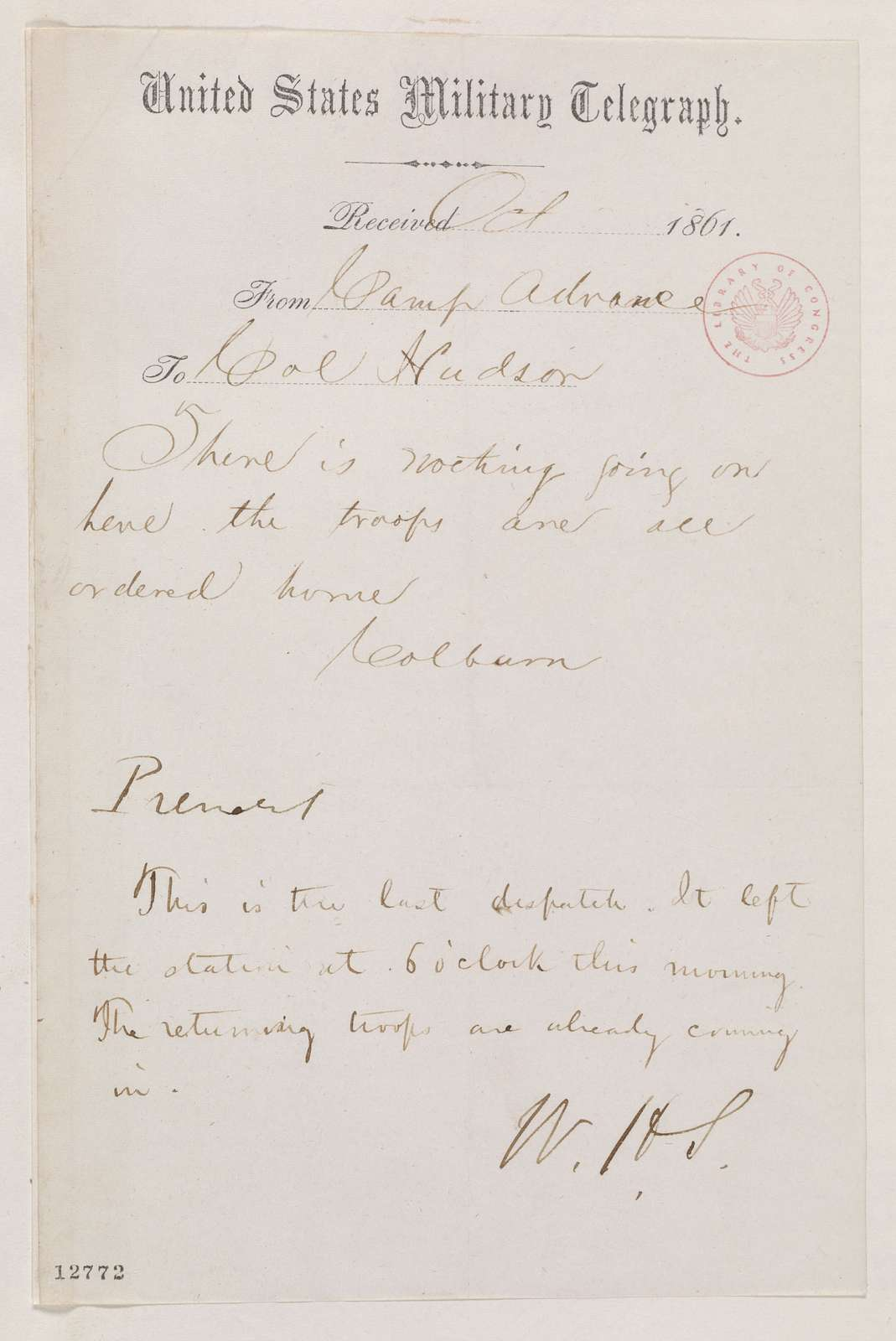Abraham Lincoln papers: Series 1. General Correspondence. 1833-1916: Albert V. Colburn to Hudson, October 1861 (Telegram regarding military affairs; endorsed by William Seward to Lincoln)