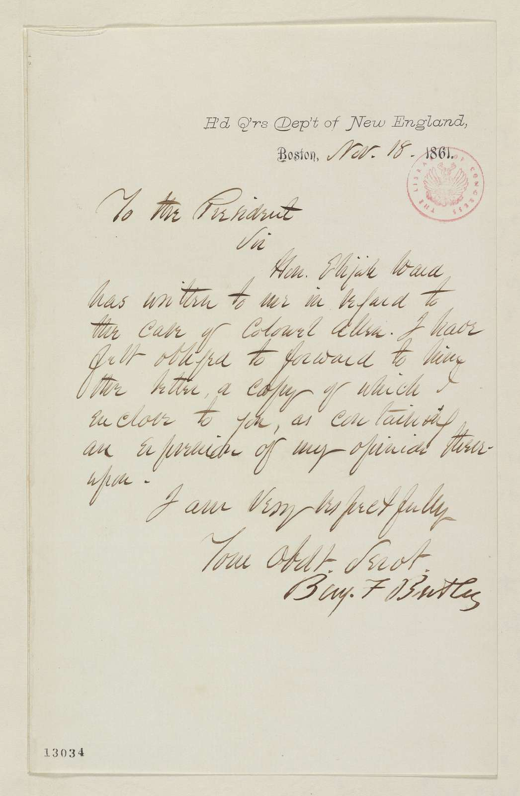 Abraham Lincoln papers: Series 1. General Correspondence. 1833-1916: Benjamin F. Butler to Abraham Lincoln, Monday, November 18, 1861 (Cover letter)