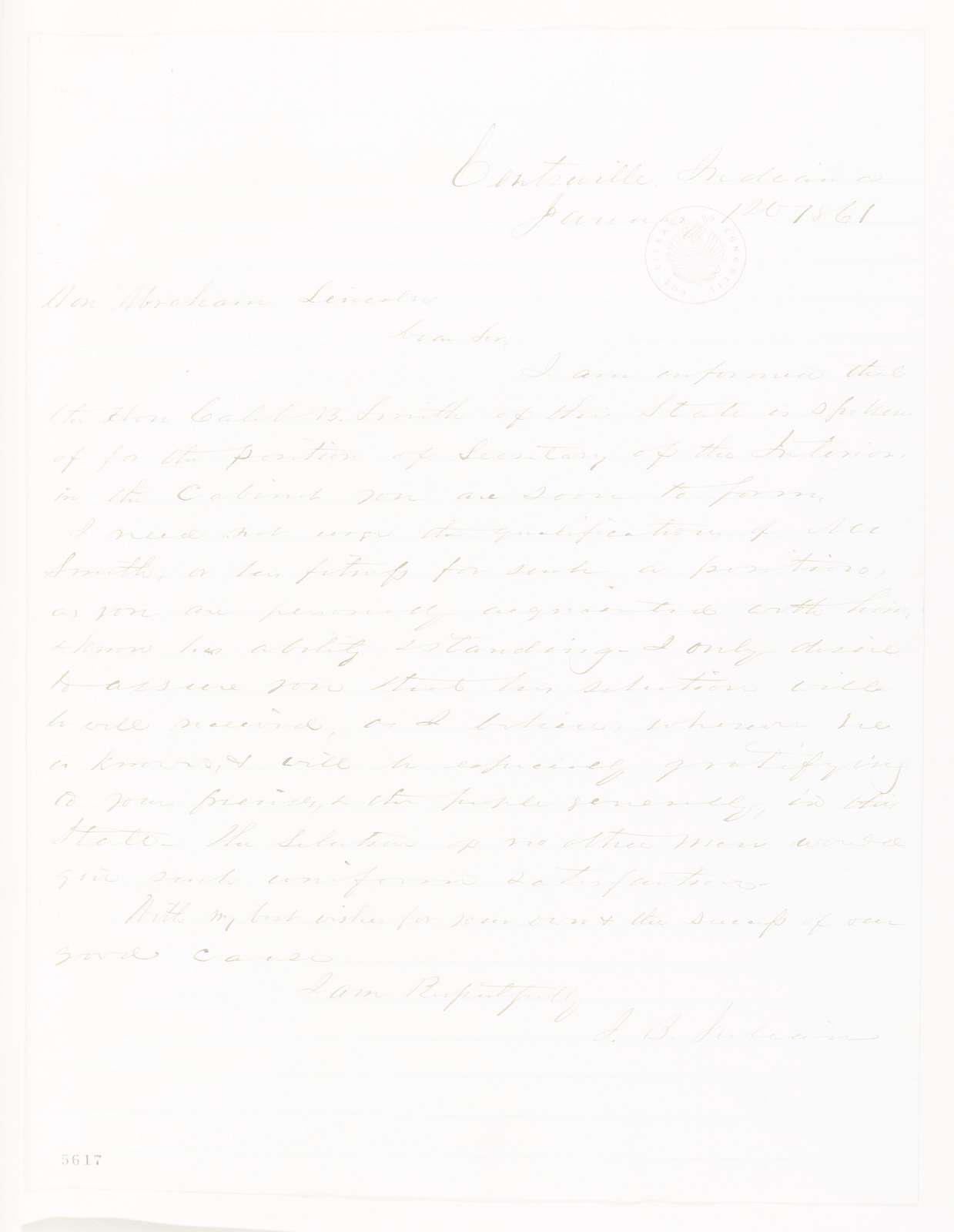 Abraham Lincoln papers: Series 1. General Correspondence. 1833-1916: J. B. Julian to Abraham Lincoln, Tuesday, January 01, 1861 (Recommendation for Caleb Smith)