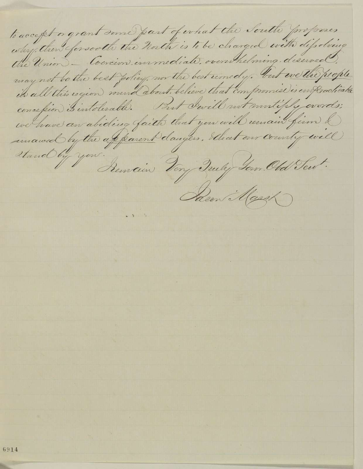 Abraham Lincoln papers: Series 1. General Correspondence. 1833-1916: Jason Marsh to Abraham Lincoln, Wednesday, January 30, 1861 (Recommends Judd for cabinet)