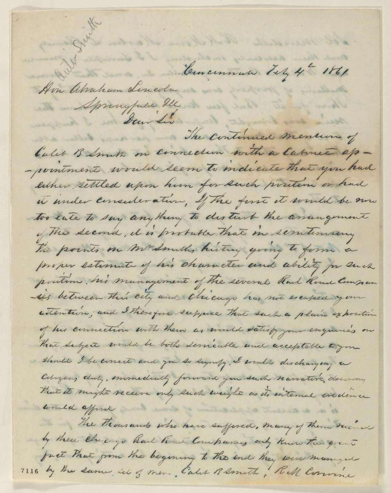Abraham Lincoln papers: Series 1. General Correspondence. 1833-1916: Richard B. Pullan to Abraham Lincoln, Monday, February 04, 1861 (Opposes cabinet appointment for Caleb Smith)