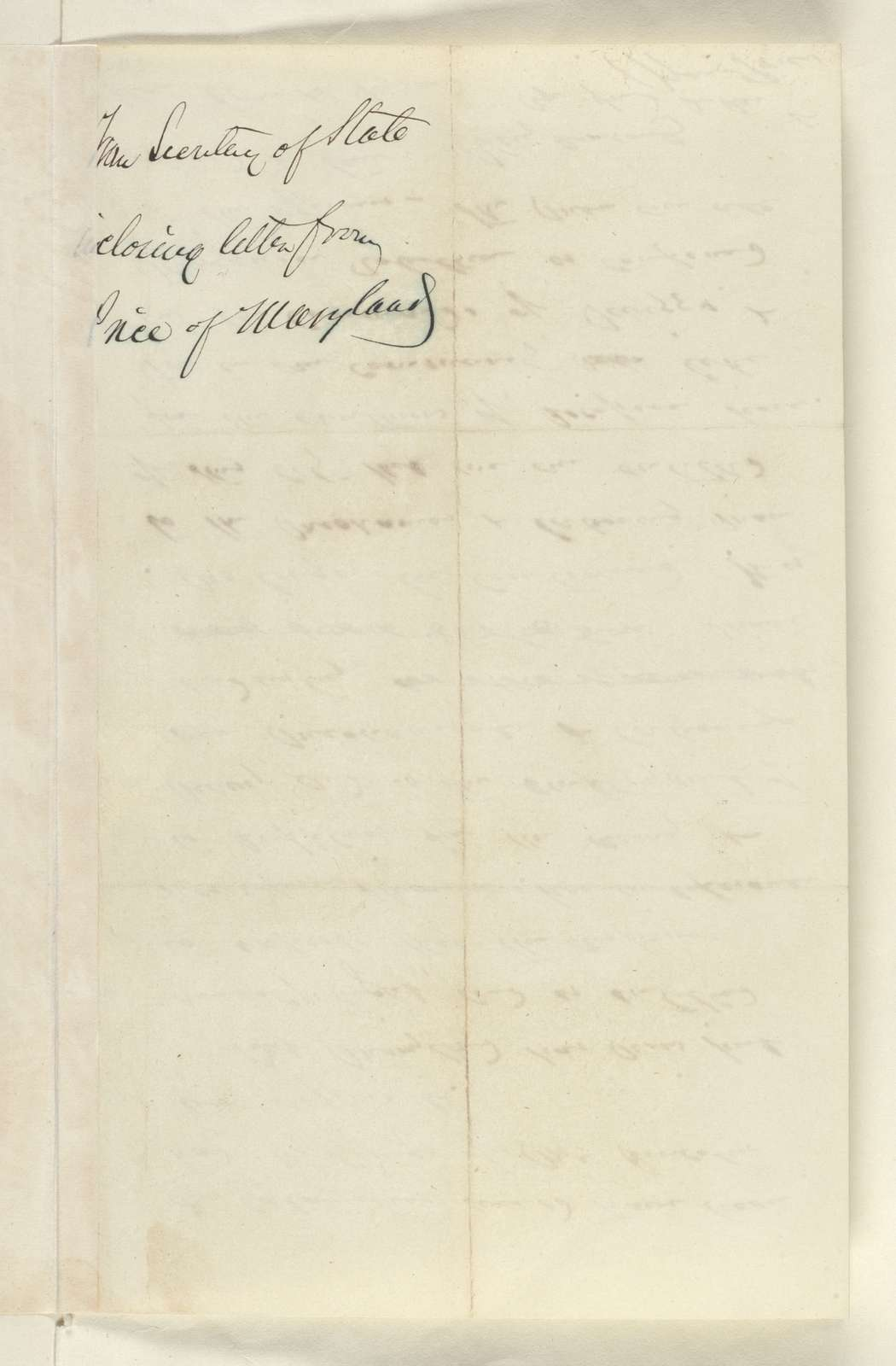 Abraham Lincoln papers: Series 1. General Correspondence. 1833-1916: William Price to William H. Seward, Friday, November 08, 1861 (Situation in Maryland)