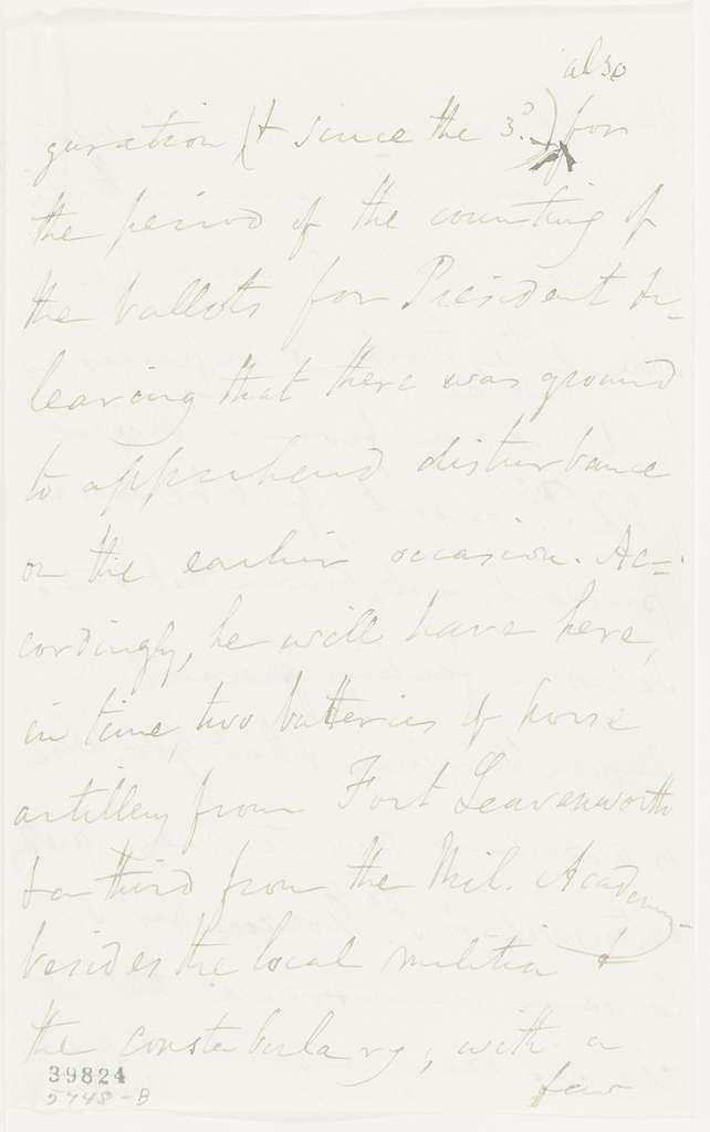 Abraham Lincoln papers: Series 1. General Correspondence. 1833-1916: Winfield Scott to Abraham Lincoln, January 4 1861 (Preparations for Lincoln's inauguration and military affairs)