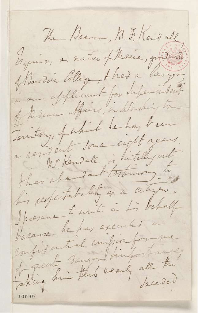 Abraham Lincoln papers: Series 1. General Correspondence. 1833-1916: Winfield Scott to Abraham Lincoln, Monday, May 27, 1861 (Recommendation; Endorsed by Abraham Lincoln and Caleb Smith)