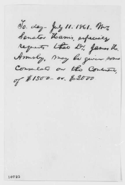 Abraham Lincoln, Thursday, July 11, 1861  (Memorandum on appointment of James Armsby)