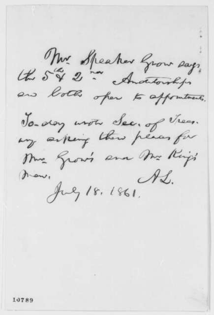 Abraham Lincoln, Thursday, July 18, 1861  (Memorandum on Treasury Patronage)