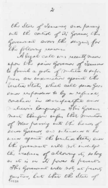 Abraham Lincoln to Isham G. Harris, May 11, 1861  (Seizure of C. E. Hillman)