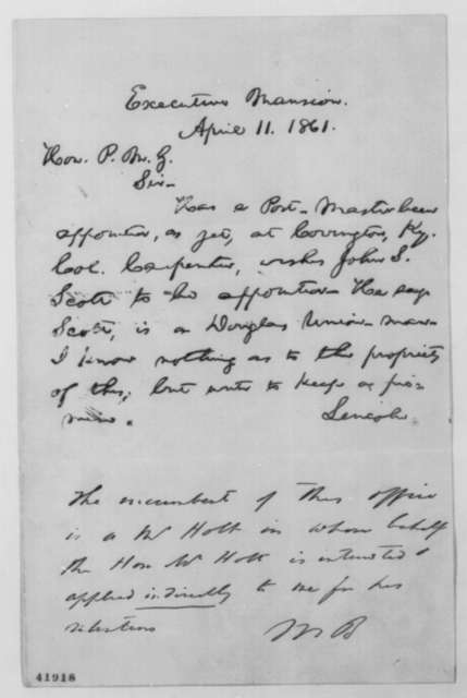 Abraham Lincoln to Montgomery Blair, Thursday, April 11, 1861  (Postmaster at Covington, Kentucky; endorsed by Blair)