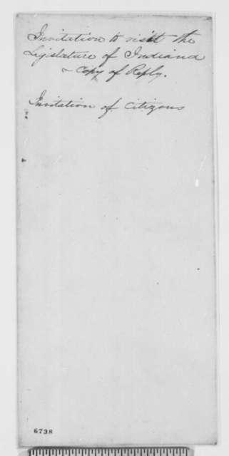 Abraham Lincoln to R. A. Cameron, Walter March and David C. Branham, Saturday, January 26, 1861  (Lincoln accepts invitation to visit Indiana Legislature)