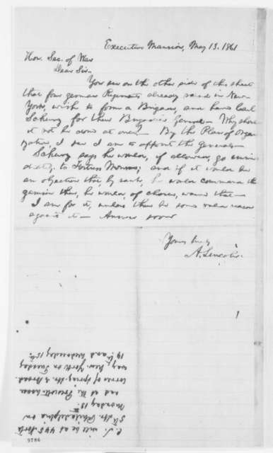 Abraham Lincoln to Simon Cameron, Monday, May 13, 1861  (Appointment for Carl Schurz)