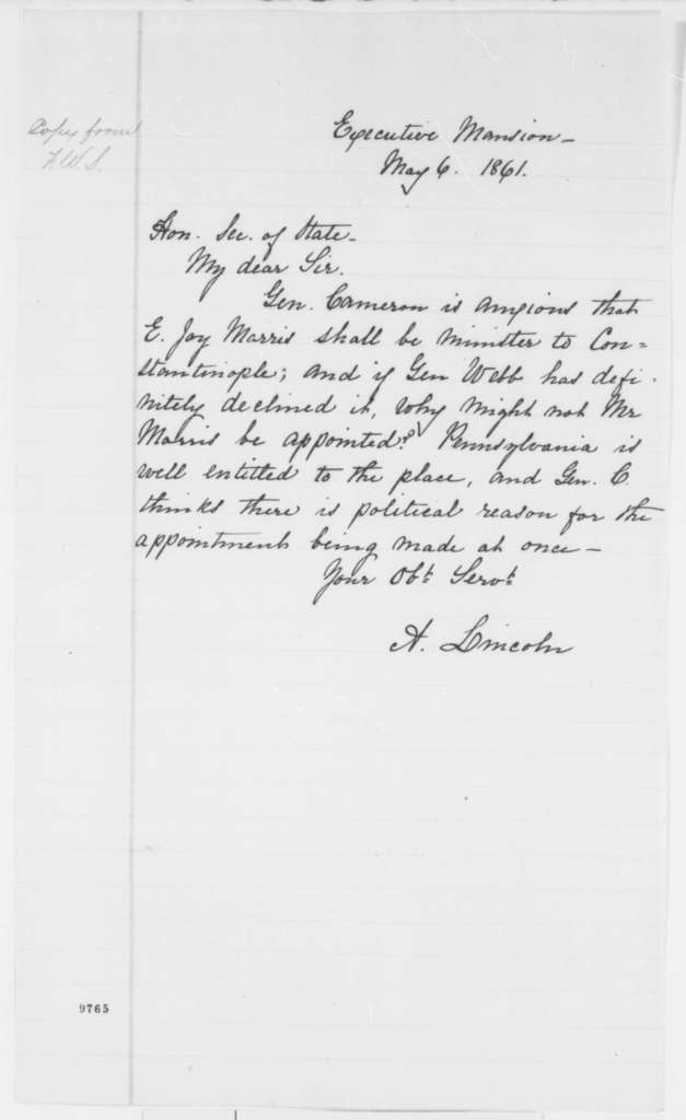 Abraham Lincoln to William H. Seward, Monday, May 06, 1861  (Diplomatic appointments)