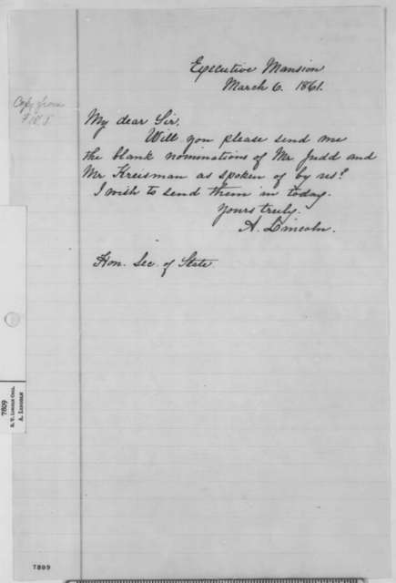 Abraham Lincoln to William H. Seward, Wednesday, March 06, 1861  (Appointments for Norman Judd and Hermann Kreismann)