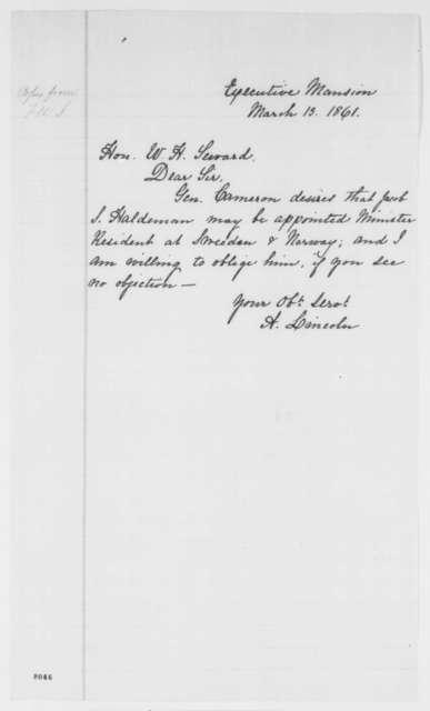 Abraham Lincoln to William H. Seward, Wednesday, March 13, 1861  (Appointment for Jacob S. Haldeman)