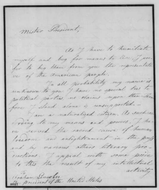 Adam Gurowski to Abraham Lincoln, Tuesday, March 12, 1861  (Seeks office)