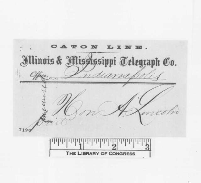 A.H. Conner to Abraham Lincoln, Wednesday, February 06, 1861  (Telegram regarding Lincoln's visit to Indiana)