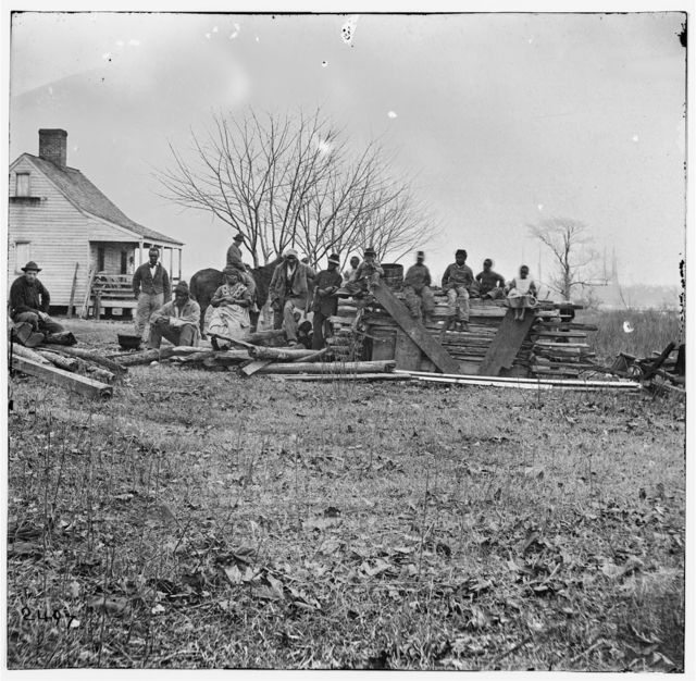 Aiken's Landing, Virginia (vicinity). Negro group at Aiken's farm