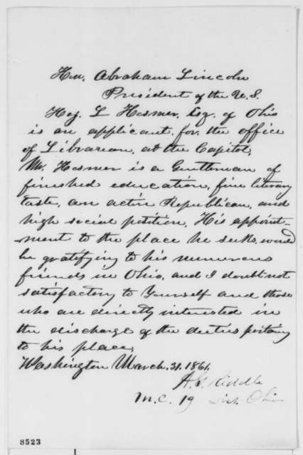 Albert G. Riddle to Abraham Lincoln, Sunday, March 31, 1861  (Recommendation)